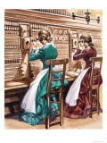 Communication One Hundred Years Ago. the London Telephone Exchange Giclee Print by Peter Jackson