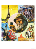 Montage Including Eiffel Tower, Aeroplane, Viking Warrior, Indian and Archaeologist Giclee Print