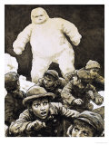 The Living Snowman Discovered by Father Bouldrealt Was a Man Encased in Snow Giclee Print by Ken Petts