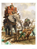 Hannibal and His Elephants Crossing a River by Raft Giclee Print by Peter Jackson