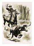Cowboy Ropes a Steer from Horseback with a Lasso Giclee Print by Henry Charles Fox