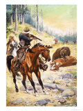 American Cowboys Surround a Bear Crouched over the Body of a Cow Giclee Print by Stanley L. Wood