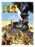 Butch Cassidy and the Sundance Kid Hold Up a Train Giclee Print by Harry Green
