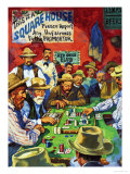 Cowboys Playing Faro in a Saloon Giclee Print by Harry Green
