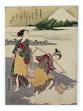 Salt Maidens on the Tago-No-Ura Beach with Mt. Fuji Behind Giclee Print by Suzuki Harunobu