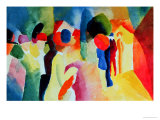 Woman with a Yellow Jacket Giclée-tryk af Auguste Macke