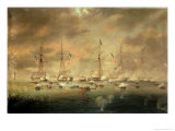 The British and American Fleets Engaged on Lake Borgne Giclee Print by Thomas L. Hornbrook