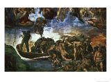 Last Judgement: Detail from the Bottom Right Corner, Sistine Chapel Giclee Print by Michelangelo Buonarroti