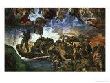 Last Judgement: Detail from the Bottom Right Corner, Sistine Chapel Giclee Print by  Michelangelo Buonarroti