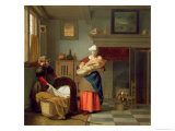 Nursemaid with Baby in an Interior and a Young Girl Preparing the Cradle Giclee Print by Pieter de Hooch