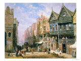 Watergate Street, Looking Towards Eastgate, Chester, c.1870 Giclee Print by Louise J. Rayner