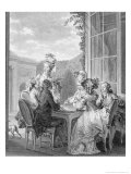 The Whist Party, 1783, Engraved by Jean Dambrun Giclee Print by Jean-Michel Moreau the Younger
