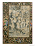 Border, Illuminated Manuscript Surrounding Drawing After Raphael's the Holy Family under the Oak Giclee Print by Giorgio-giulio Clovio