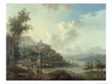Rhineland View with a Bridge and Figures in the Foreground and a Fortified Town on a Hill Beyond Giclee Print by Christian Georg II Schutz Or Schuz