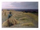The Harvesters, Svinklov-VIIldemosen, Jutland Giclee Print by Knud Larsen