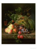 Still Life of Fruit on a Ledge with Parakeets Giclee Print by Jakob Bogdani Or Bogdany