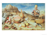 Still Life with Peasant and Hens Giclee Print by Giovanna Garzoni