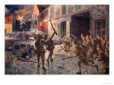 The Coldstream Guards at Landrecies, August 1914 Giclee Print by William Barnes Wollen