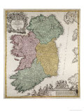 Map of Ireland, Provinces of Ulster, Munster, Connaught and Leinster, by Johann B. Homann, c.1730 Giclee Print by Johann Baptista Homann