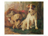 Left in Charge - a Fox Terrier with Game Giclee Print by Philip Eustace Stretton