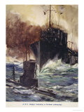 H.M.S. Badger Ramming a German Submarine, Told in the Huts: The YMCA Gift Book, Published 1916 Giclee Print by Cyrus Cuneo