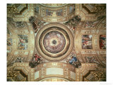 The Vision of Paradise, Frescoes on the Ceiling and Cupola of Sant'Andrea Della Valle, Rome, 1621 Giclée-tryk af Giovanni Lanfranco