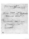 Leonardo Da Vinci&#39;s Handwriting Giclee Print by Leonardo da Vinci 