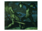 Perseus Turns Phineus to Stone by Brandishing the Head of Medusa, 1908 Gicleetryck av Franz von Stuck