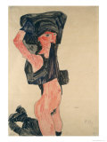 Girl Kneeling with Her Dress Hitched Up Giclee-vedos tekijänä Egon Schiele