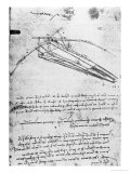 Design For a Flying Machine, Folio 74V 143, c.1488 Giclee Print by Leonardo da Vinci