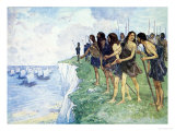 Shore Covered with Men Ready For Battle, from Our Island Story H.E. Marshall, Pub. Jack Ltd, 1905 Giclee Print by A.s. Forrest