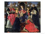 Madonna and Child Enthroned with St. Dionysius, Aeropagita, Domenic, Clement and Aquinas, c.1483 Giclée-tryk af Domenico Ghirlandaio