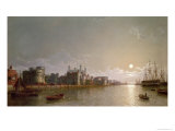 The Thames by Moonlight with Traitors' Gate and the Tower of London Giclee Print by Henry Pether