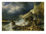 The Onslaught of the Smugglers, c.1837 Giclee Print by Louis Eugene Gabriel Isabey