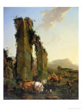 Peasants with Cattle by a Ruined Aqueduct, c.1655-60 Giclee Print by Nicolaes Pietersz. Berchem