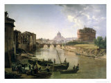 New Rome with the Castel Sant'Angelo, 1825 Giclee Print by Silvestr Fedosievich Shchedrin
