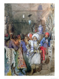 Vendors in the Covered Bazaar, Istanbul, 1851 Giclee Print by Amadeo Preziosi