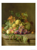 Still Life of Melons, Grapes and Peaches on a Ledge Giclee Print by Jakob Bogdani Or Bogdany