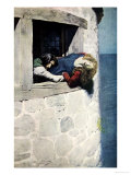 Hung over the Space Without', the Maid of Landevennec, Pub.Harper's Magazine, 1904 Giclee Print by Howard Pyle