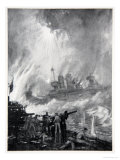 The Gallant End of H.M.S. Tiperrary at Jutland, The Naval Front, c.1920 Giclee Print by Donald Maxwell