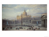 Exterior of St. Peter's, Rome, from the Piazza, 1868 Giclee Print by Louis Haghe