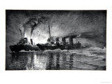 HMS Broke Ramming the German Destroyer, Rom The Naval Front by Gordon S. Maxwell, 1920 Giclee Print by Donald Maxwell