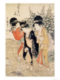 Three Girls Paddling in a River, Fashionable Six Jewelled Rivers, Yamashiro Province, Pub. 1790 Giclee Print by Utamaro Kitagawa