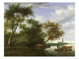 Wooded River Landscape with Figures and Cattle on a Ferryboat Giclee Print by Salomon van Ruisdael or Ruysdael