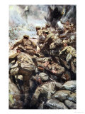 Repulsing a Frontal Attack with Rifle and Bayonet, Told in the Huts: The YMCA Gift Book, c.1916 Giclee Print by Cyrus Cuneo