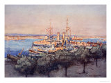 H.M.S. Queen, Trawlers and Drifters, Taranto, The Naval Front by Gordon S. Maxwell, 1920 Giclee Print by Donald Maxwell