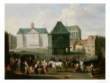 Market Scene Before the Dam Palace, Amsterdam Giclee Print by Hendrick Mommers