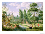 Figures in the Grounds of a Country House Giclee Print by Isaak van Oosten