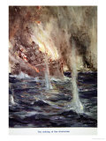The Sinking of the Gneisenau, from Told in the Huts: The YMCA Gift Book, Published 1916 Giclee Print by Cyrus Cuneo