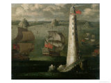 Men-O-War and Other Vessels Before the Eddystone Lighthouse Giclee Print by Isaac Sailmaker